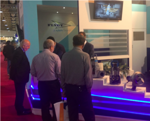 Visitors in Flygt's booth